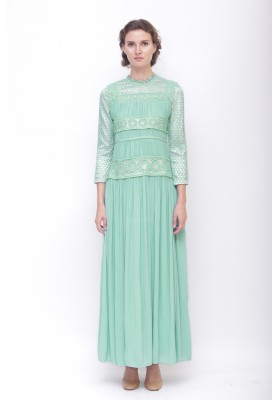 Aurellia Pleated Long Dress Green