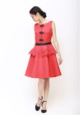 Abby Peplum Cheongsam Dress Red