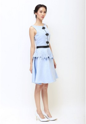 Abby Peplum Cheongsam Dress Blue