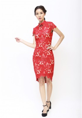 Ava Lace Cheongsam Dress Red