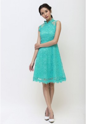 Daisy Lace Cheongsam Dress Green
