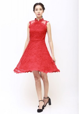 Daisy Lace Cheongsam Dress Red
