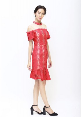Pearl Lace Cheongsam Dress