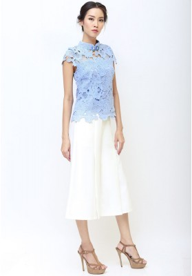 Ava Lace Cheongsam Top Blue