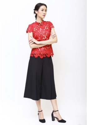 Ava Lace Cheongsam Top Red