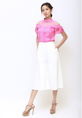 Pearl Lace Cheongsam Top Pink