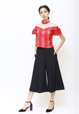 Pearl Lace Cheongsam Top Red