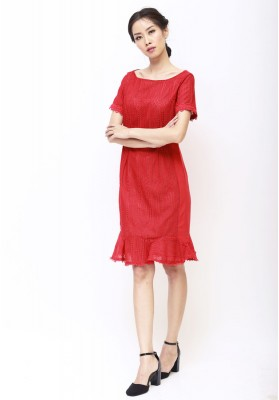 Emilia Lace Dress Red