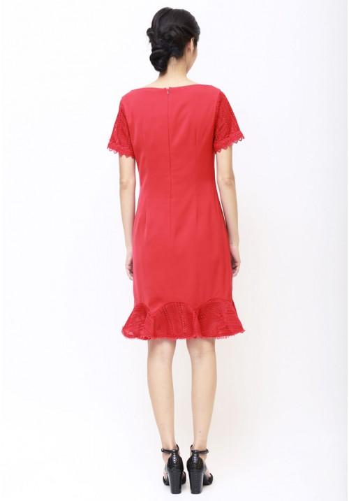 Emilia Lace Dress Red