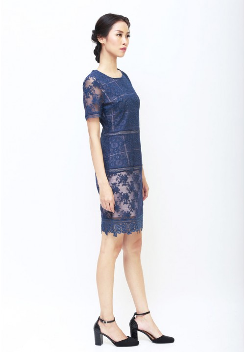 Gabrielle Lace Dress Navy