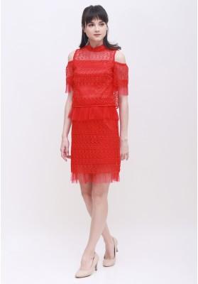 Mia Lace Cheongsam Dress Red
