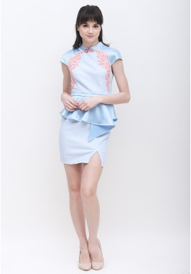 Zoey Cheongsam Dress Blue