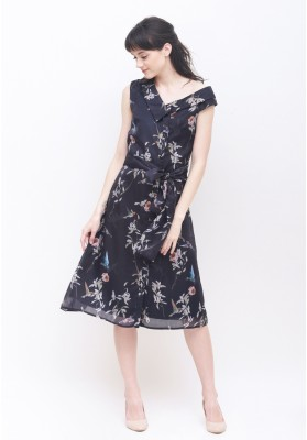 Freya Floral Dress Navy