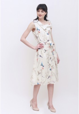 Freya Floral Dress Beige