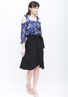 Freya Floral Top Navy