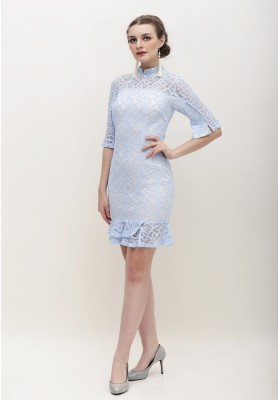 Charisa Cheongsam Dress Blue