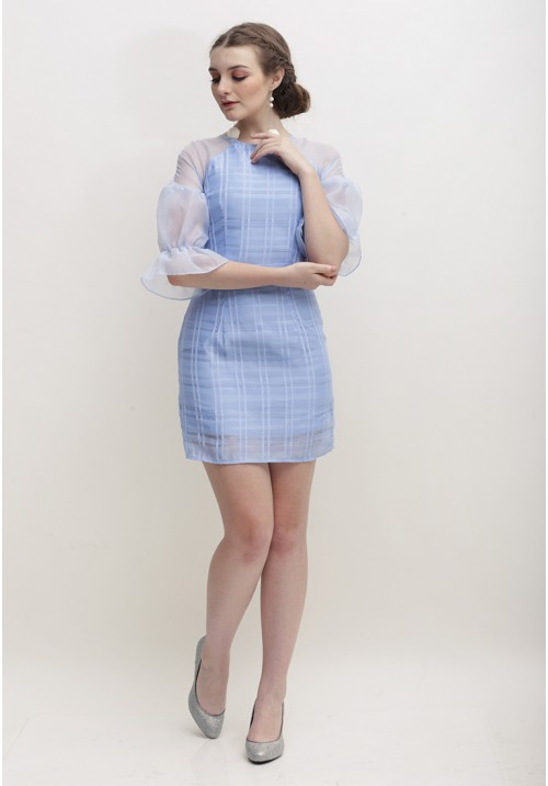 Otilia Plaid Dress Blue