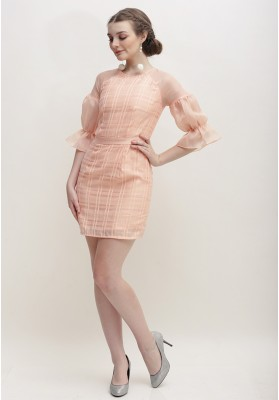 Otilia Plaid Dress Peach