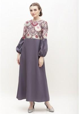 Jasmine Print Long Dress Grey