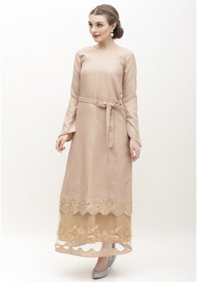 Rosie Embroidered Long Dress Brown
