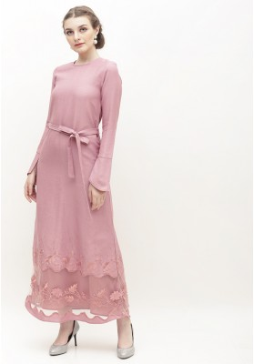 Rosie Embroidered Long Dress Pink