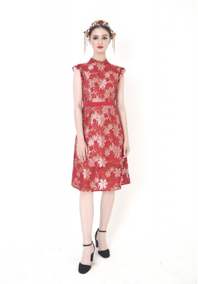 Clarita Lace Dress Red