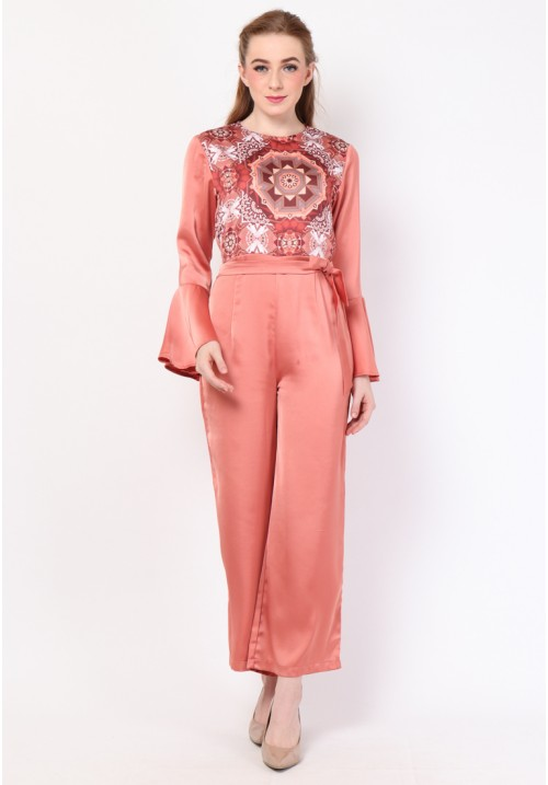 Isadore Print Jumpsuit Peach