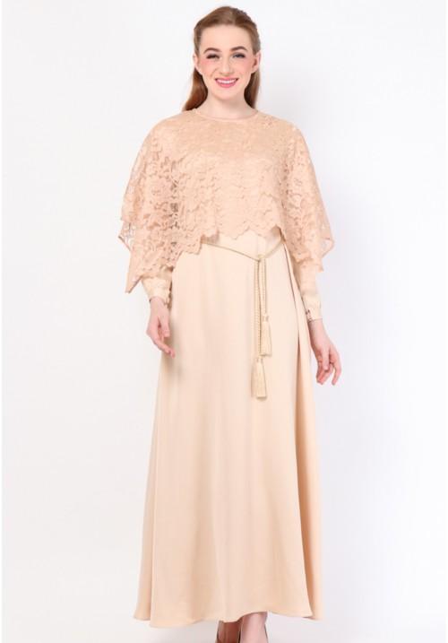 Nora Cape Long Dress Beige