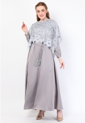 Nora Cape Long Dress Grey