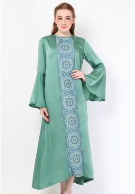 Safaa Print Long Dress Green