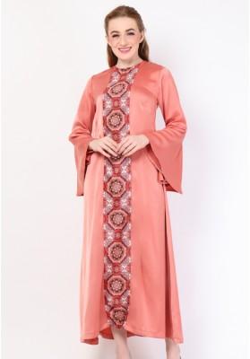 Safaa Print Long Dress Peach