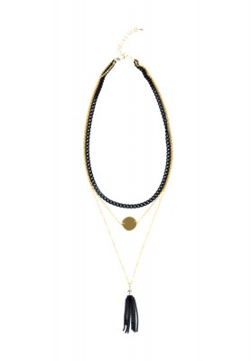 Layered Chain Necklace With Tassel Black