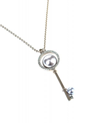 Pearl Key Necklace Grey