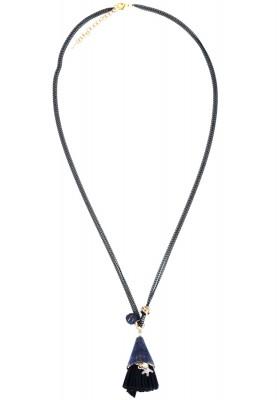 Short Tassel With Mini Starfish Necklace Black