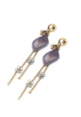 Doff Bead Chain With Multicolor Long Tassel Flower Earrings Purple