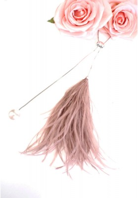 Feather Pearl Long Necklace Pink