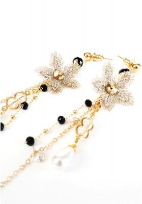 Gem Embellished Vintage Floral Earrings Gold