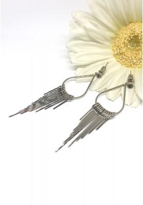 Gold Chain Tassel Dangle Long Earrings Silver