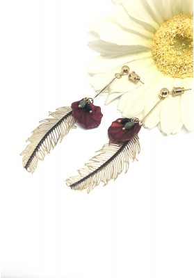 Gold Feather With Leaf And Ovale Gem Beads Earrings Red