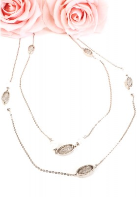 Oval Nest With Pearl Double Necklace Silver