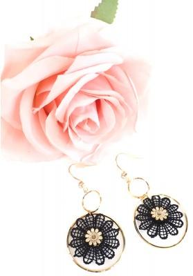 Round Floral Earrings Black
