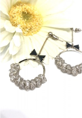 Round Loop With Bow And Crystal Loop Beads Earrings Silver
