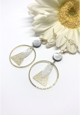 Round Loop With Triangle And Leaf Ornament Earrings Gold