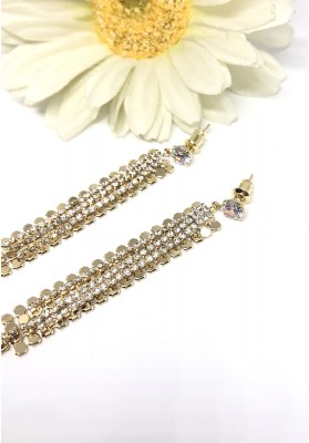 Round String With Crystal Alloy Dangle Tassel Earrings Gold