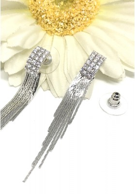Square Full Crystal Chain Dangle Earrings Silver