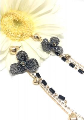 Three Petals Flower Tear Drop Earrings Black