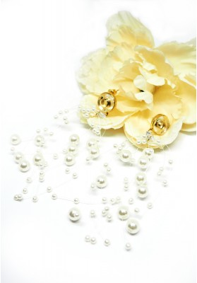 Tiny Hoops With Simulated Pearls Earrings White