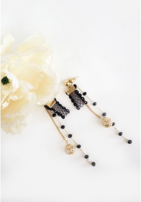 Trim Lace With Gold Ball  And Beads Chain Earrings Gold