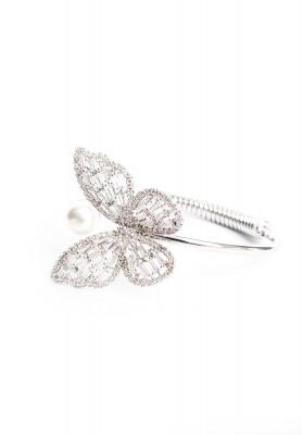 Butterfly With Pearl Hoop Bracelet Silver