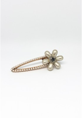 Pearl Flower With Stone Barrets Hair Clips Gold